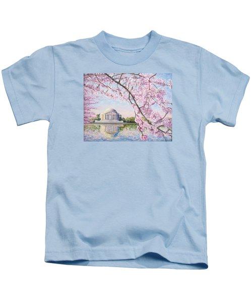 Jefferson Memorial Cherry Blossoms Kids T-Shirt