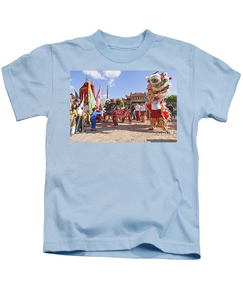 Chinese Lion Dancers During A Celebration. Kids T-Shirt