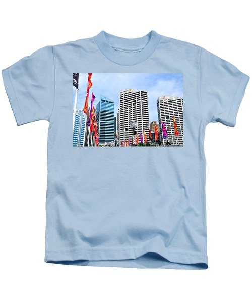 Colorful Flags Lead To City By Kaye Menner Kids T-Shirt