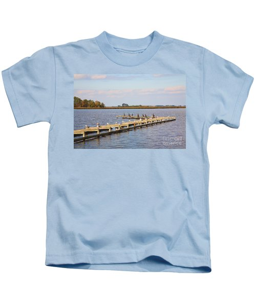 Cormorants And Seagulls On Old Dock Near Blackwater  National Wildlife Refuge Near Cambridge Md Kids T-Shirt