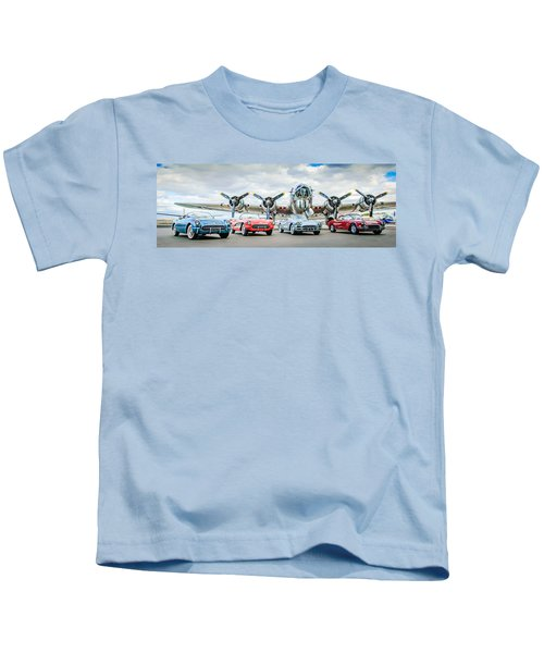 Kids T-Shirt featuring the photograph Corvettes With B17 Bomber by Jill Reger