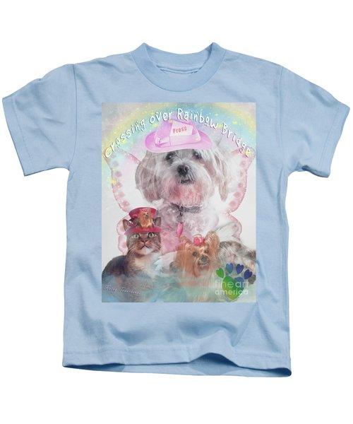 Crossing Over Rainbow Bridge Kids T-Shirt