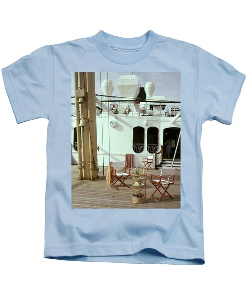 Directors Chairs In Front Of The Ship The Queen Kids T-Shirt