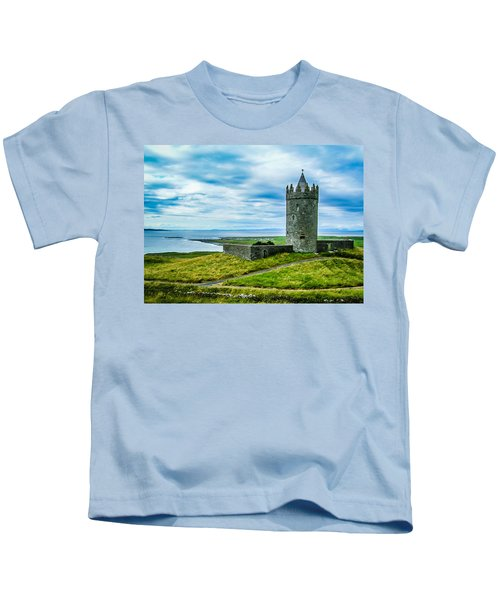Kids T-Shirt featuring the photograph Doonagore Castle In Ireland's County Clare by James Truett