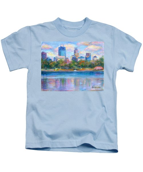 Downtown Minneapolis Skyline From Lake Calhoun Kids T-Shirt
