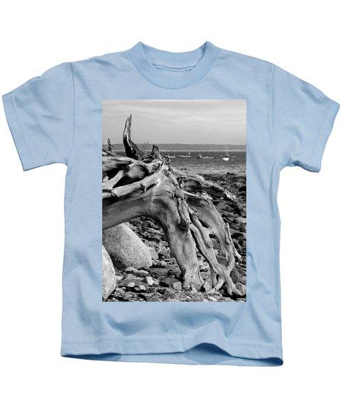 Driftwood On Rocky Beach Kids T-Shirt
