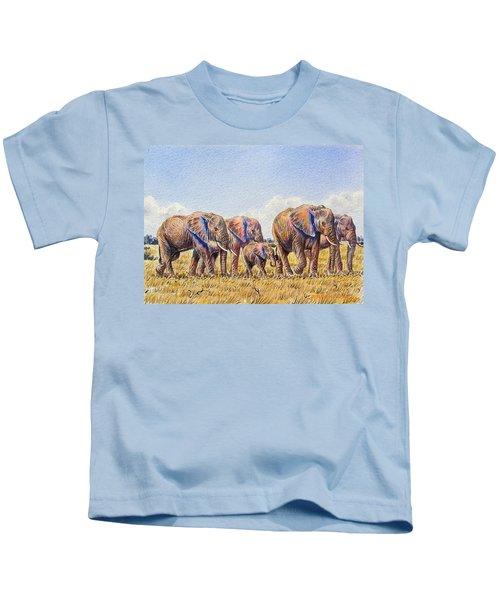 Elephants Walking Kids T-Shirt