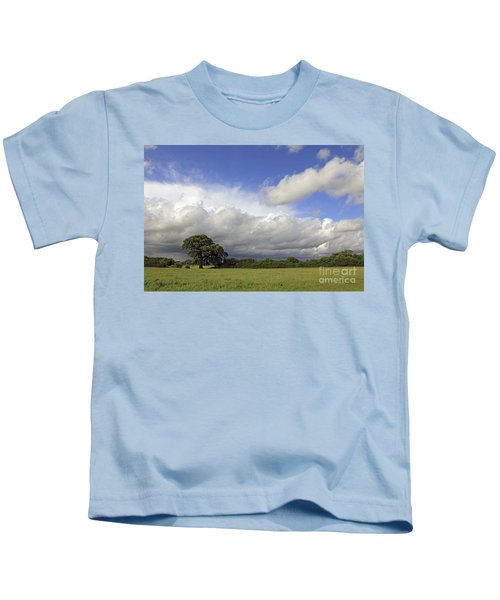 English Oak Under Stormy Skies Kids T-Shirt