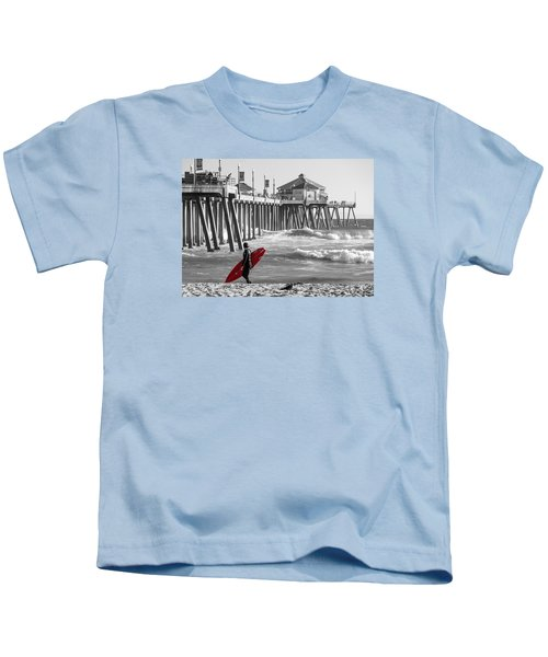Existential Surfing At Huntington Beach Selective Color Kids T-Shirt