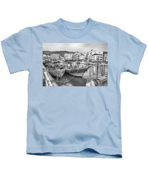 Fishing Boats B W Kids T-Shirt