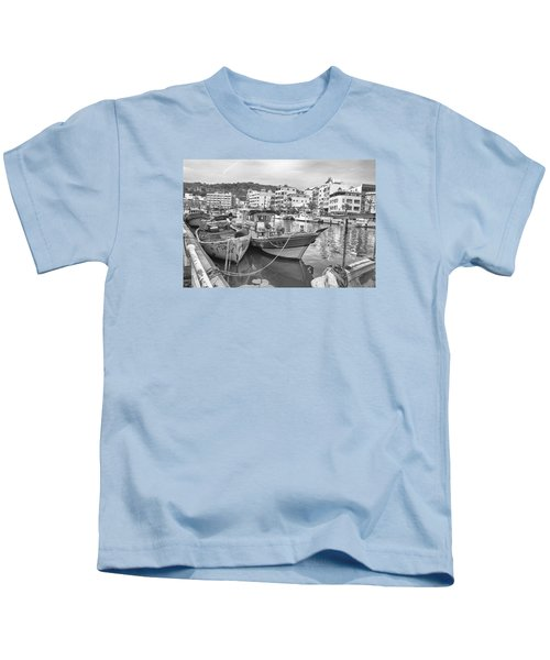 Fishing Boats B W Kids T-Shirt