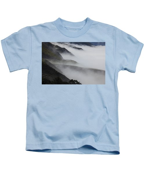 Foggy Coastal Hills Kids T-Shirt