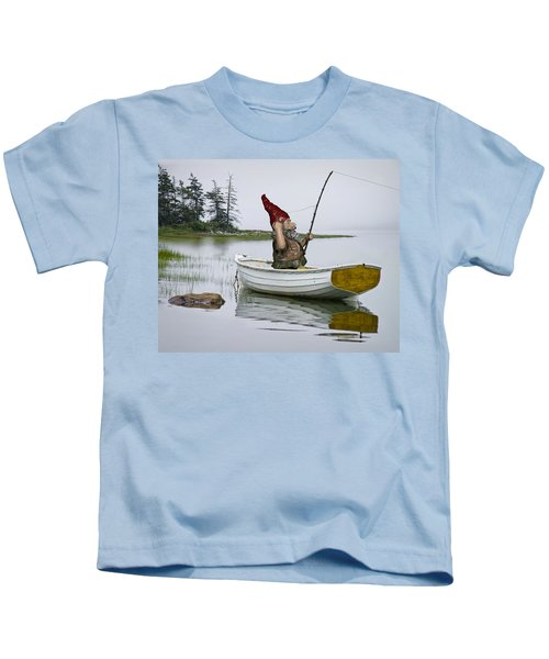 Gnome Fisherman In A White Maine Boat On A Foggy Morning Kids T-Shirt