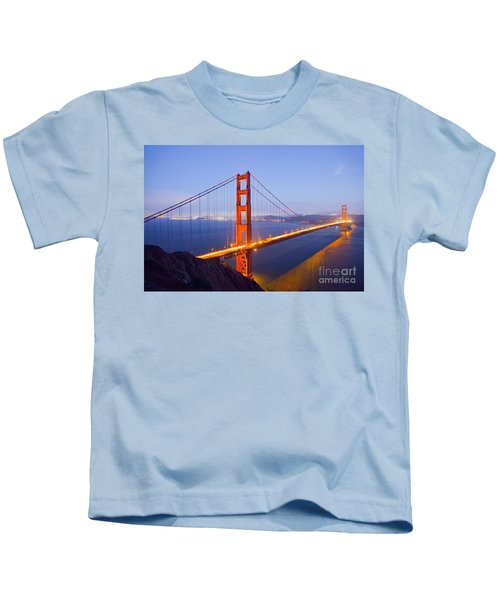 Golden Gate Bridge At Dusk Kids T-Shirt