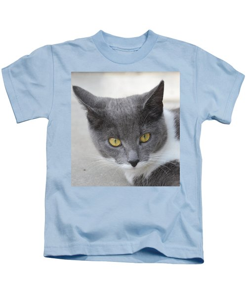 Gray Cat - Listening Kids T-Shirt