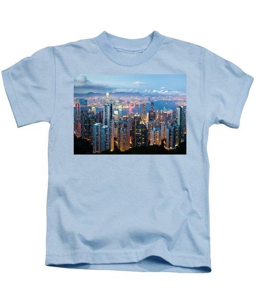 Hong Kong At Dusk Kids T-Shirt