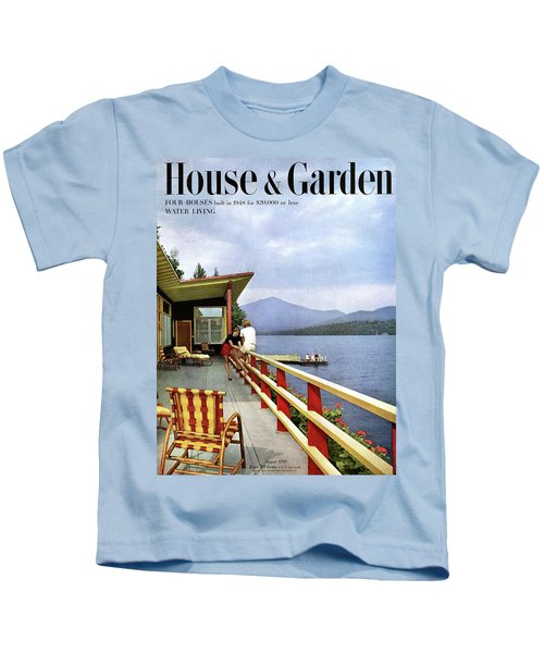 House & Garden Cover Of Women Sitting On The Deck Kids T-Shirt