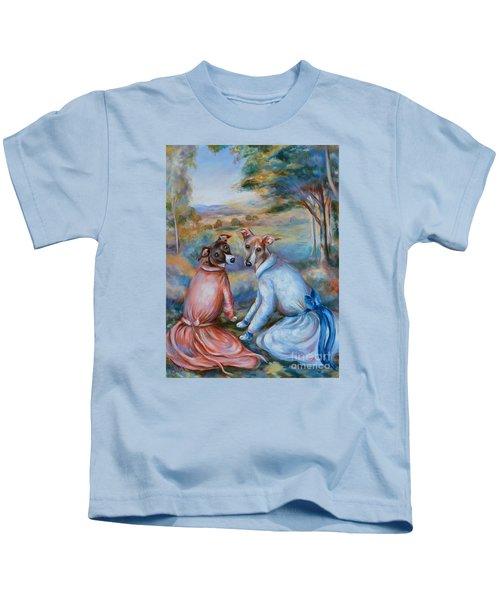 Italian Greyhounds Renoir Style Kids T-Shirt