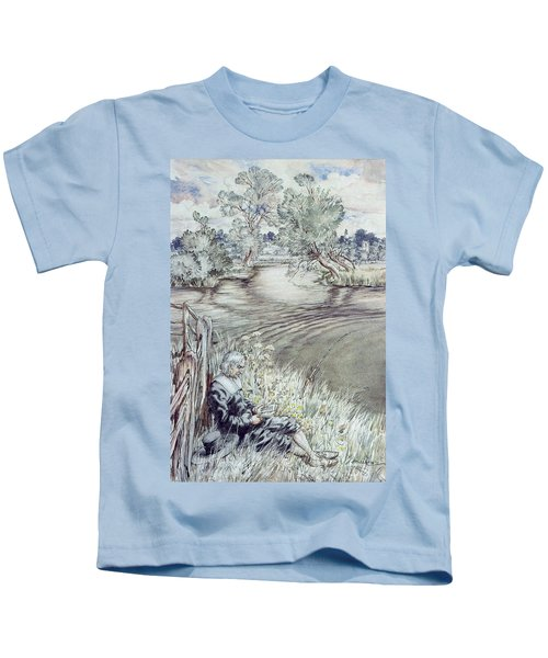 Izaak Walton Reclining Against A Fence Kids T-Shirt
