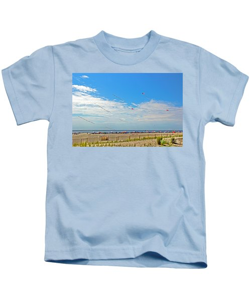 Kites Flying Over The Sand Kids T-Shirt