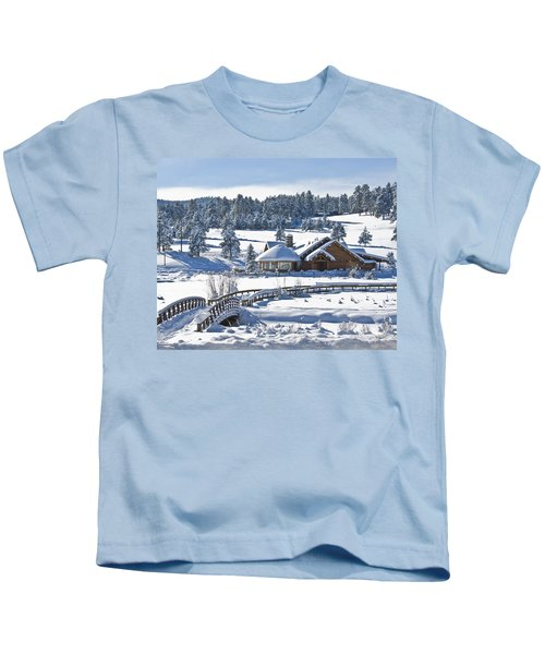 Lake House In Snow Kids T-Shirt
