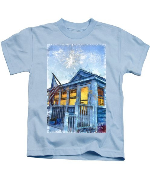 Lazy Daze Beach Cottage Pencil Sketch Kids T-Shirt