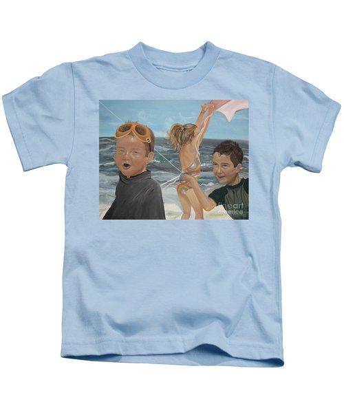 Beach - Children Playing - Kite Kids T-Shirt