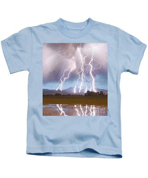Lightning Striking Longs Peak Foothills 4c Kids T-Shirt