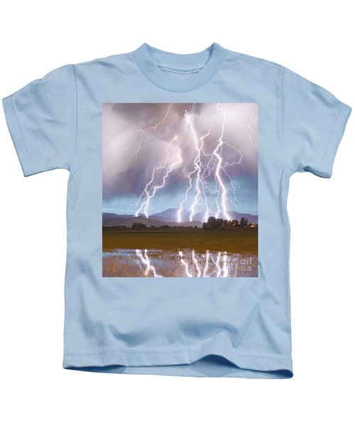 Lightning Striking Longs Peak Foothills 4c Kids T-Shirt