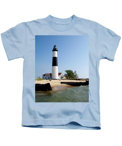 Ludington Michigan's Big Sable Lighthouse Kids T-Shirt