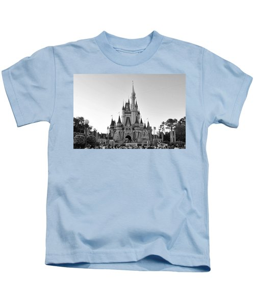 Magic Kingdom Castle In Black And White Kids T-Shirt
