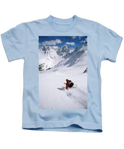 Man Skiing In Untracked Powder, Colorado Kids T-Shirt