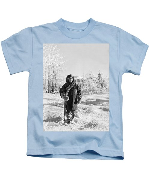 Man With Parka And Snowshoes Kids T-Shirt