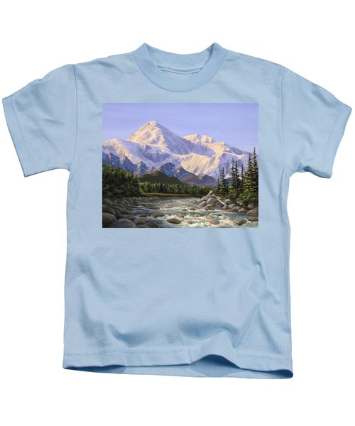 Majestic Denali Mountain Landscape - Alaska Painting - Mountains And River - Wilderness Decor Kids T-Shirt