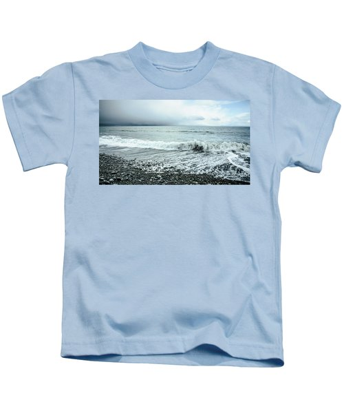 Moody Shoreline French Beach Kids T-Shirt