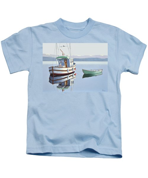Morning Calm-fishing Boat With Skiff Kids T-Shirt