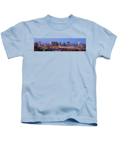 Nashville Skyline At Dusk Panorama Color Kids T-Shirt by Jon Holiday