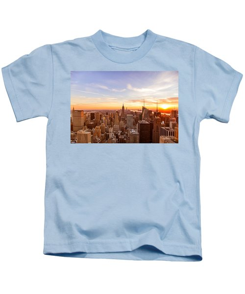 New York City - Sunset Skyline Kids T-Shirt