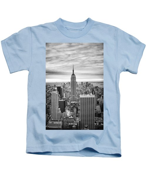Black And White Photo Of New York Skyline Kids T-Shirt