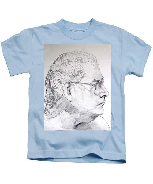 Graphite Portrait Life Drawing Sketch Not So Young Anymore Kids T-Shirt