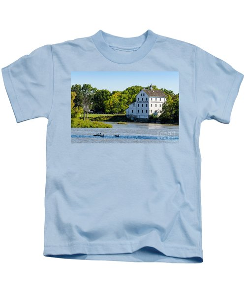 Old Mill On Grand River In Caledonia In Ontario Kids T-Shirt