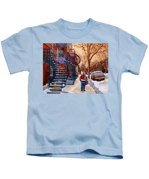 Paintings Of Montreal Beautiful Staircases In Winter Walking Home After The Game By Carole Spandau Kids T-Shirt