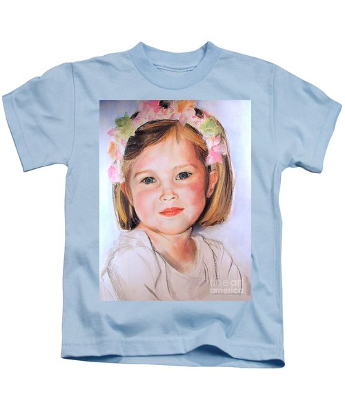 Pastel Portrait Of Girl With Flowers In Her Hair Kids T-Shirt