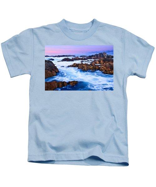 Pastel Tides - Rocky Asilomar Beach In Monterey Bay At Sunset. Kids T-Shirt