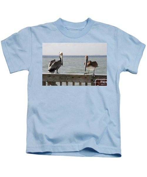 Pelicans On The Pier At Fort Myers Beach In Florida Kids T-Shirt