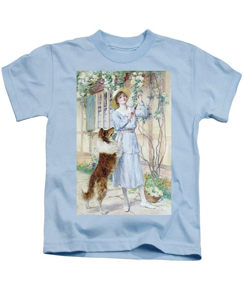 Picking Roses Kids T-Shirt by William Henry Margetson
