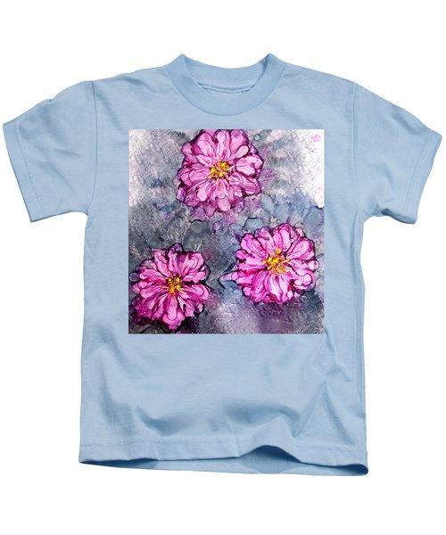Pink Dahlia Blooms Alcohol Inks Kids T-Shirt
