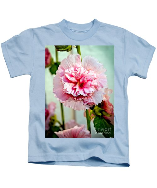 Pink Double Hollyhock Kids T-Shirt
