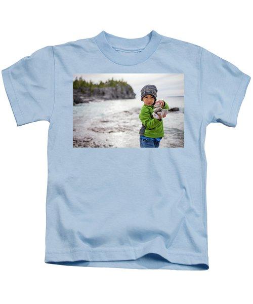 Portrait Of Little Boy Standing At Lake Kids T-Shirt