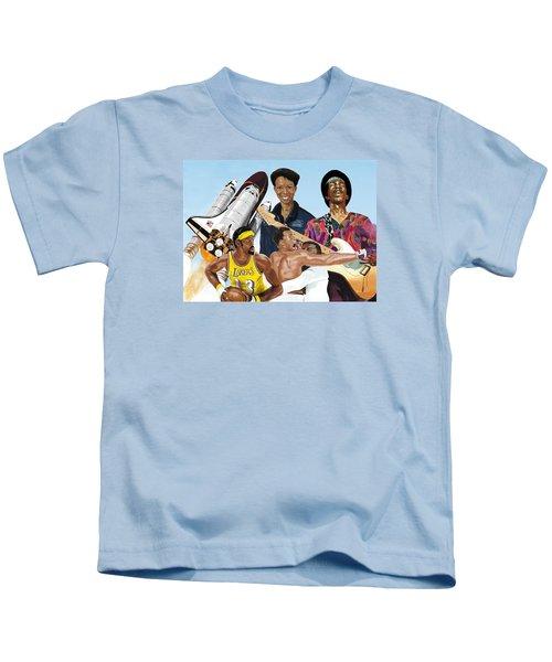 Jimi, Muhammad Ali, Wilt Chamberlain And Mae Carol Jemison Kids T-Shirt